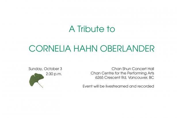 A Tribute to Cornelia Hahn Oberlander – 2021.10.03